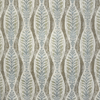 F2996 Tidewater Fabric: E80, FOLIAGE, FERN, LEAF, JACQUARD, WOVEN, TEXTURE, GREEN, BROWN, BOTANICAL