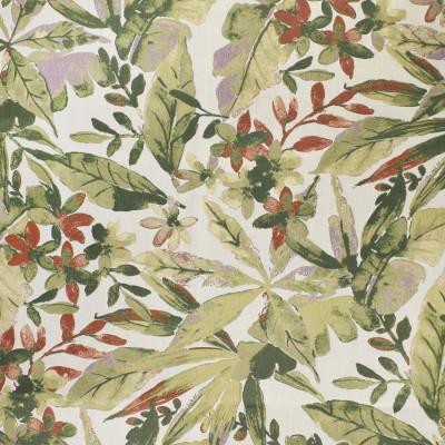 F3000 Bloom Fabric: E80, FLORAL, FOLIAGE, BOTANICAL, JACQUARD, WOVEN, GREEN, PURPLE, RED