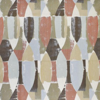 F3004 Sunbaked Fabric: E80, GEOMETRIC, WOVEN, JACQUARD, ORANGE, BLUE, NEUTRAL, MULTI, ABSTRACT