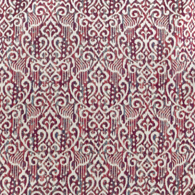 F3006 Jewel Fabric: E80, IKAT, MEDALLION, AZTEC, WOVEN, RED, RED AND TEAL