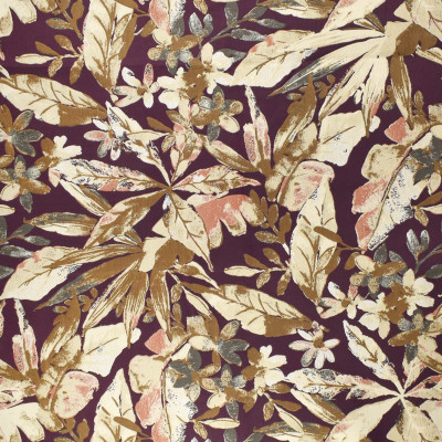 F3009 Plum Fabric: E80, FLORAL, FOLIAGE, BOTANICAL, JACQUARD, WOVEN, GOLD, PURPLE, RED