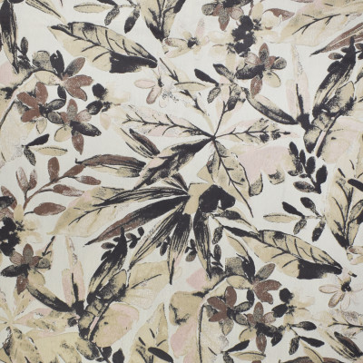 F3024 Champagne Fabric: E81, FLORAL, FOLIAGE, JACQUARD, WOVEN, NEUTRAL, BLACK
