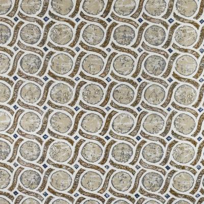 F3031 Khaki Fabric: E81, GEOMETRIC, LATTICE, CIRCLE, WOVEN, KHAKI, BROWN, BLUE AND BROWN