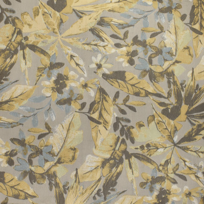 F3047 Fresco Fabric: E81, FLORAL, FOLIAGE, JACQUARD, YELLOW, GRAY, GREY, BLUE