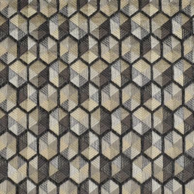 F3052 Alloy Fabric: E81, GEOMETRIC, HEXAGON, CHENILLE, TEXTURE, MATELASSES, GRAY, GREY, NEUTRAL