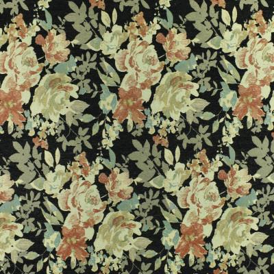 F3058 Onyx Fabric: E81, FLORAL, TEXTURE, JACQUARD, CHENILLE, BLACK, GOLD, RED, BLACK AND GOLD, BLACK AND RED