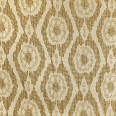 F3164 Tea Stain Fabric: E86, IKAT, SOUTHWEST, MEDALLION, JACQUARD, WOVEN, BROWN, NEUTRAL