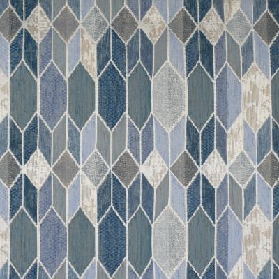 F3238 Denim Fabric: E88, MADE IN USA, GEOMETRIC, METALLIC, TEXTURE, CHENILLE, BLUE, DENIM