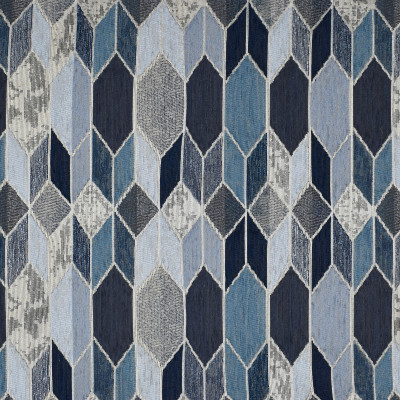 F3252 Sapphire Fabric: E88, MADE IN USA, GEOMETRIC, METALLIC, TEXTURE, CHENILLE, BLUE, SAPPHIRE