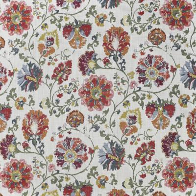 F3310 Berry Fabric: E89, FLORAL, JACQUARD, RED, BLUE, BERRY