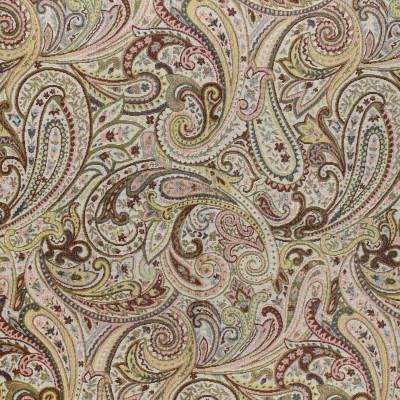 F3462 Salmon Fabric: E92, TRADITIONAL, TAPESTRY, WOVEN, PAISLEY, RED, PINK, SALMON