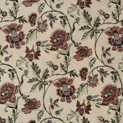 F3465 Beige Fabric: E92, TRADITIONAL, TAPESTRY, WOVEN, FLORAL, RED, BLUE, BEIGE, CARNATION