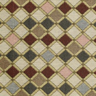 F3466 Salmon Fabric: E92, TRADITIONAL, TAPESTRY, WOVEN, DIAMOND, RED, BLUE, SALMON, GEOMETRIC