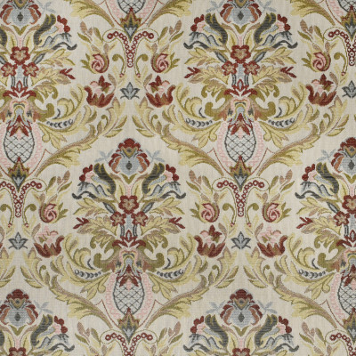 F3467 Carnation Fabric: E92, TRADITIONAL, TAPESTRY, WOVEN, FLORAL, RED, BLUE, CARNATION