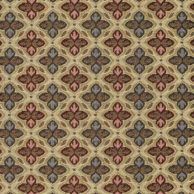 F3468 Amaranth Fabric: E92, TRADITIONAL, TAPESTRY, WOVEN, GEOMETRIC, RED, BLUE, FLEUR DE LIS