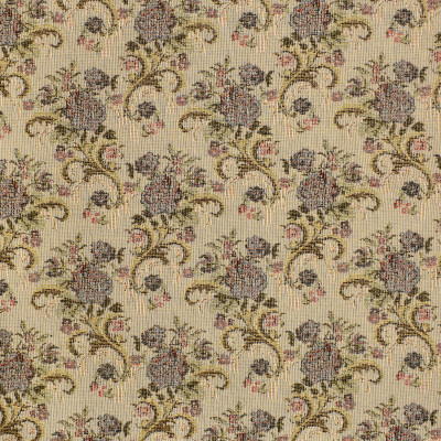 F3470 Salmon Fabric: E92, TRADITIONAL, TAPESTRY, WOVEN, FLORAL, BOUQUET, BLUE, RED, SALMON