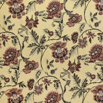 F3474 Parchment Fabric: E92, TRADITIONAL, TAPESTRY, WOVEN, FLORAL, RED, PARCHMENT