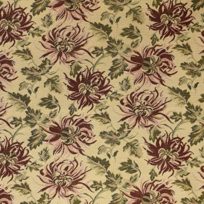 F3478 Carnelian Fabric: E92, TRADITIONAL, TAPESTRY, WOVEN, FLORAL, RED, GREEN, CARNELIAN