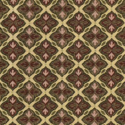 F3479 Bloom Fabric: E92, TRADITIONAL, TAPESTRY, WOVEN, GEOMETRIC, RED, BLACK, FLEUR DE LIS, BLOOM