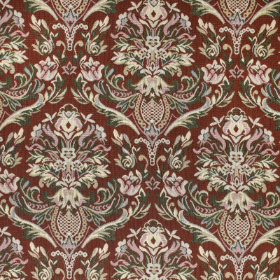 F3481 Rosewood Fabric: E92, TRADITIONAL, TAPESTRY, WOVEN, FLORAL, RED, ROSEWOOD