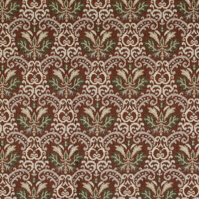 F3483 Brick Fabric: E92, TRADITIONAL, TAPESTRY, WOVEN, MEDALLION, RED, BRICK