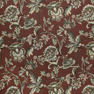 F3484 Garnet Fabric: E92, TRADITIONAL, TAPESTRY, WOVEN, FLORAL, GARNET, CARNATION