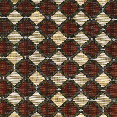 F3485 Carmine Fabric: E92, TRADITIONAL, TAPESTRY, WOVEN, DIAMOND, RED, CARMINE, GEOMETRIC