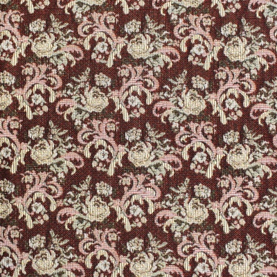 F3486 Burgundy Fabric: E92, TRADITIONAL, TAPESTRY, WOVEN, FLORAL, RED, BURGUNDY, SMALL SCALE