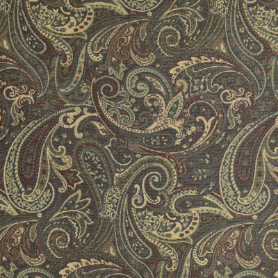 F3490 Forest Fabric: E92, TRADITIONAL, TAPESTRY, WOVEN, PAISLEY, BLACK, GREEN, FOREST