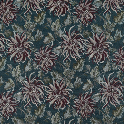 F3497 Yale Fabric: E92, TRADITIONAL, TAPESTRY, WOVEN, FLORAL, BLUE, RED