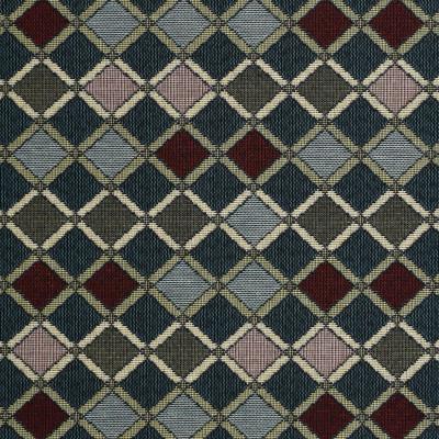 F3498 Cornflower Fabric: E92, TRADITIONAL, TAPESTRY, WOVEN, DIAMOND, BLUE, RED, CORNFLOWER, GEOMETRIC
