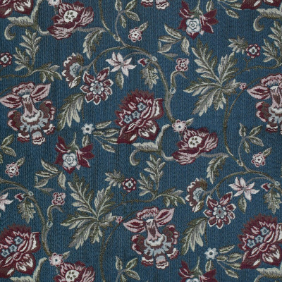 F3499 Sapphire Fabric: E92, TRADITIONAL, TAPESTRY, WOVEN, FLORAL, BLUE, RED, SAPPHIRE, CARNATION