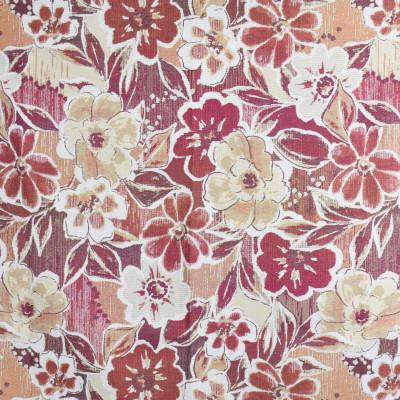 F3773 Carnelian Fabric: M06, FLORAL, JACQUARD, WOVEN, RED, ORANGE, CARNELIAN