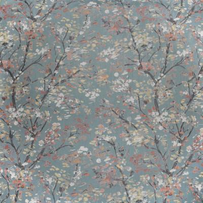 F3774 Wedgewood Fabric: M06, FOLIAGE, JACQUARD, BLUE, RED, WEDGEWOOD