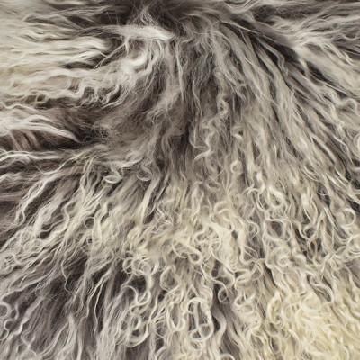 HOH017 Ash Fabric: LEATHER, HOH, HAIR ON HIDE, ANIMAL, SHEEP, TIBETAN SHEEP, GOBI