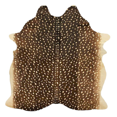 HOH027 Axis Deer Fabric: AXIS DEER, PRINTED, BROWN, ANIMAL, PRINTED COWHIDE, HOH, HAIR, HAIR ON HIDE, LEATHER