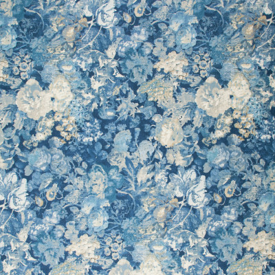 S1198 Cobalt Fabric: S05, ANNA ELISABETH, FLORAL PRINT, BLUE FLORAL, BLUE PRINT, BLUE FLORAL PRINT