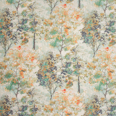 S1270 Tarragon Fabric: S07, COTTON, 100% COTTON, ORANGE FLORAL, GREEN FLORAL, FLORAL PRINT, ANNA ELISABETH