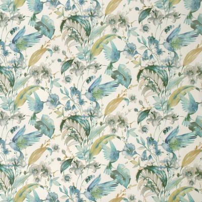 S1282 Dream Blue Fabric: S07, COTTON, 100% COTTON, ANNA ELISABETH, FLORAL PRINT, BLUE FLORAL, GREEN FLORAL, BLUE PRINT, GREEN PRINT