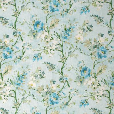 S1283 Aqua Fabric: S07, COTTON, 100% COTTON, ANNA ELISABETH, FLORAL PRINT, FLORAL BLUE, FLORAL GREEN, BLUE PRINT