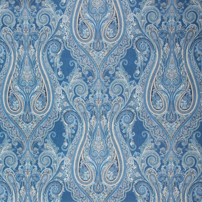 S1297 Blueberry Fabric: S07, COTTON, 100% COTTON, ANNA ELISABETH, MEDALLION PRINT, SCROLL PRINT, BLUE SCROLL, BLUE MEDALLION
