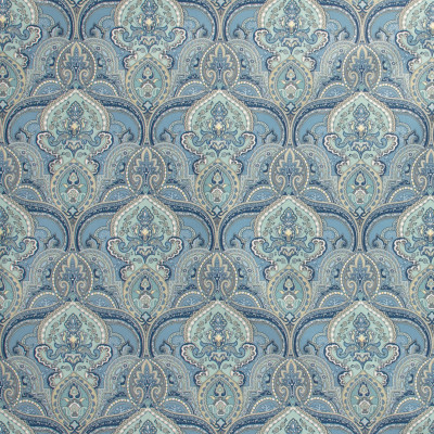 S1301 Bluebird Fabric: S07, COTTON, 100% COTTON, ANNA ELISABETH, METALLIC MEDALLION, METALLIC PRINT, BLUE MEDALLION