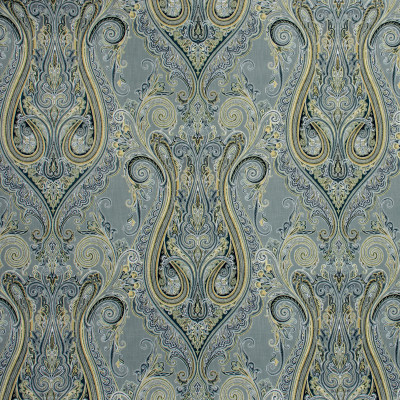 S1322 Flint Fabric: S07, COTTON, 100% COTTON, ANNA ELISABETH, MEDALLION PRINT, GRAY PRINT, GRAY MEDALLION, GOLD MEDALLION, GOLD PRINT, GOLD SCROLL, SCROLL PRINT, GRAY SCROLL