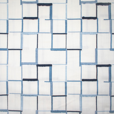 S1330 Windsor Fabric: S08, EMBROIDERY, ANNA ELISABETH, BLUE GEOMETRIC EMBROIDERY, BLUE GEOMETRIC, GEOMETRIC BLUE, BLUE SQUARE EMBROIDERY, BLUE AND WHITE EMBROIDERY, BLUE AND WHITE, WHITE AND BLUE