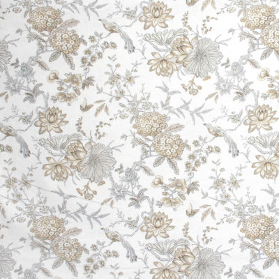 S1398 Fumo Fabric: S09, ANNA ELISABETH, WHITE AND NEUTRAL FLORAL, FLORAL WHITE AND NEUTRAL, NEUTRAL FLORAL, WHITE FLORAL, ANIMAL