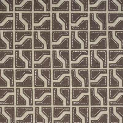 S1585 Hemp Fabric: S12, ANNA ELISABETH, CATHEDRAL SAINT-ANDRE, BORDEAUX, GEOMETRIC, EMBROIDERY, GEOMETRIC EMBROIDERY, BROWN GEOMETRIC, BROWN EMBROIDERY, BEIGE, BEIGE EMBROIDERY, BEIGE GEOMETRIC, CONTEMPORARY, CONTEMPORARY EMBROIDERY, HEMP
