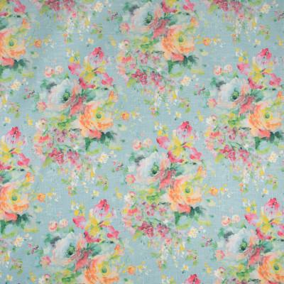 S1747 Bluebird Fabric: S15, FLORAL, FAUX LINEN, LINEN LOOK, LINEN LIKE FLORAL, GREEN, PEACH, YELLOW, TEAL, SPA, ANNA ELISABETH, BORDEAUX