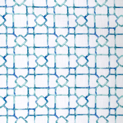 S1767 Isle Waters Fabric: S15, WATERCOLOR, CONTEMPORARY, GEOMETRIC, BLUE, TEAL, WHITE, PRINT, LINEN LOOK, ANNA ELISABETH, BORDEAUX