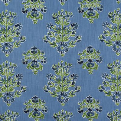 S1776 Cornflower Fabric: S15, BLUE AND GREEN PRINT, FLORAL PRINT, PRINT, BLUE, GREEN, MEDALLION, ANNA ELISABETH, BORDEAUX