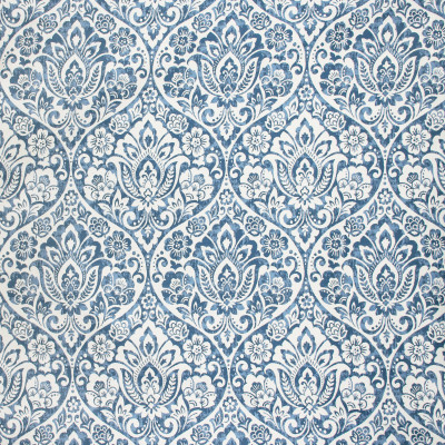 S1782 Wedgewood Fabric: S15, BLUE, FLORAL, MEDALLION, JACQUARD, WOVEN, ANNA ELISABETH, BORDEAUX, BLUE AND WHITE